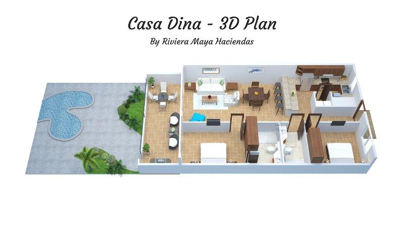 Riviera Maya Haciendas, Casa Dina - Proprietà Plan Floor 3D.