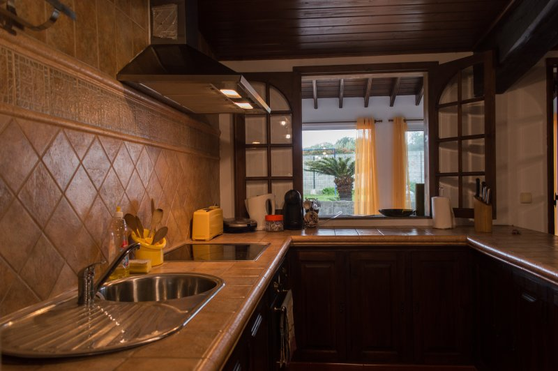 Kitchen overlooking the backpatio and the lawn