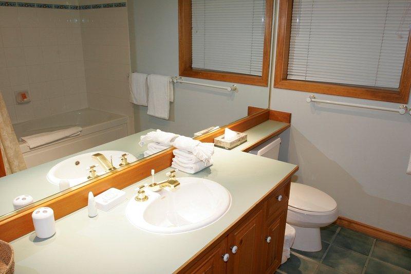 L'ampio bagno è perfetto per prepararsi per una giornata in montagna.