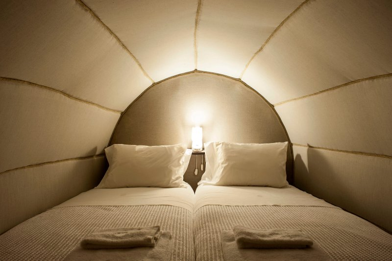 Beds within Pipos. A different experience, warm and comfortable.