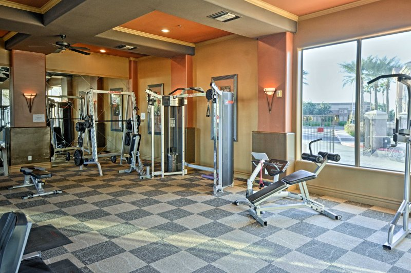 Stay true to your workout routine in the fitness center at Solana Resort!