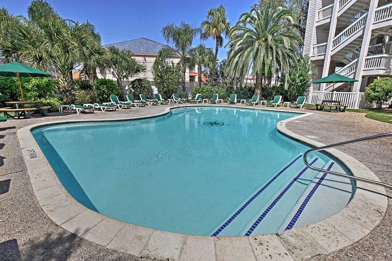 This 1-bedroom, 1-bathroom vacation rental condo is in the heart of Galveston!