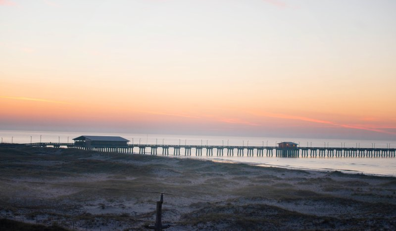 State Park Pier from balcony at sunrise