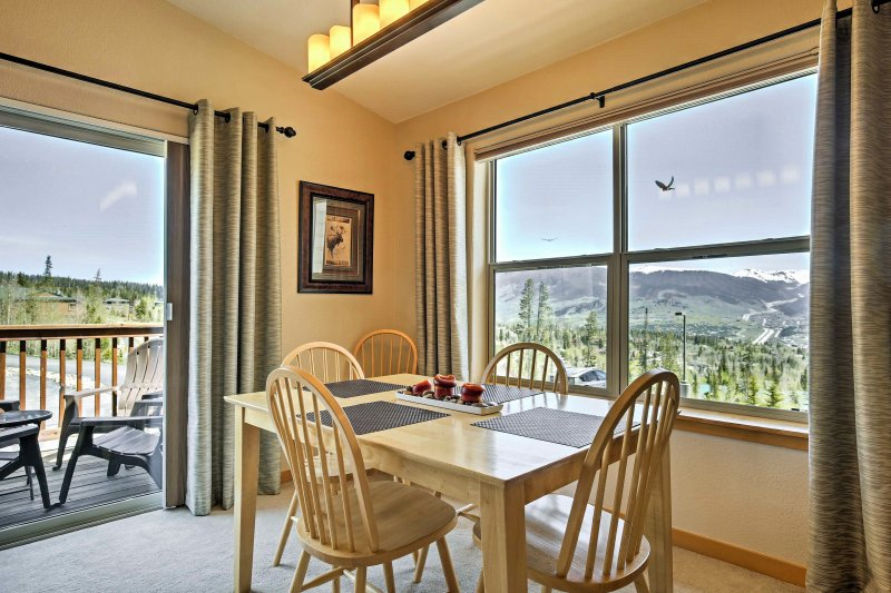 Enjoy dinner and a view with this stunning Silverthorne vacation rental condo.