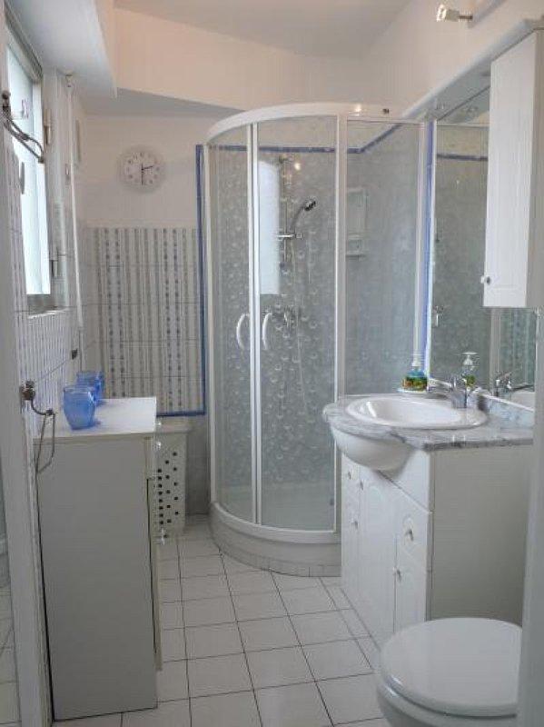 cabine de douche moderne enfermé dans la salle de bain