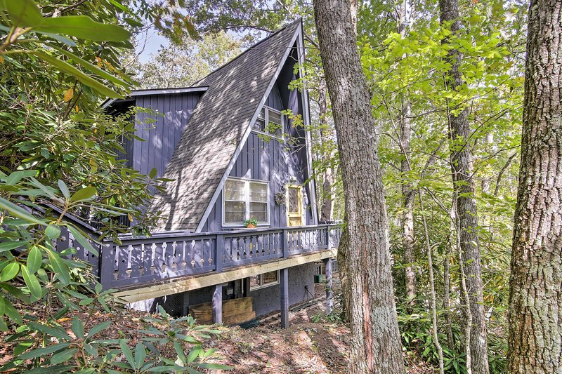 Escape to the forest of Sky Valley at this 4-bed, 3-bath vacation rental house.