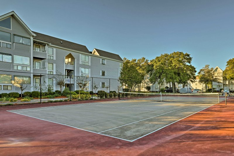 Challenge your family to a spirited game of tennis out on the courts.