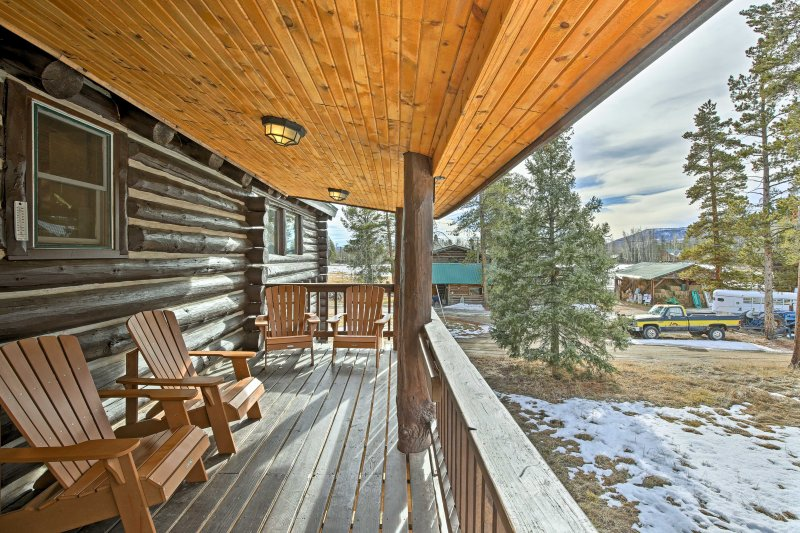 This traditional log cabin boasts 2,255 square feet of living space.
