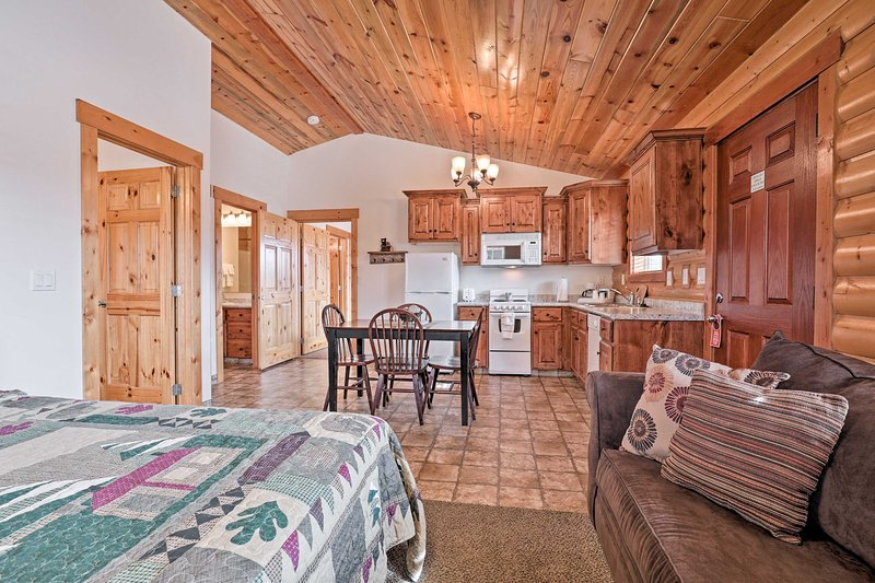 This cabin features rustic wood paneling.