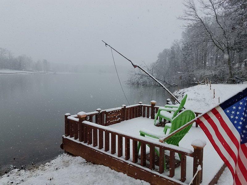 Chalet deslumbrante lago frente com 30 acre lago privado, grande pesca, mesmo no inverno