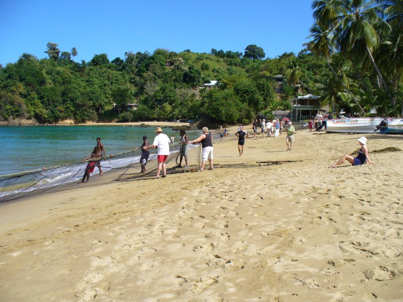 Pulling in the nets with the local fishermen on Castara beach