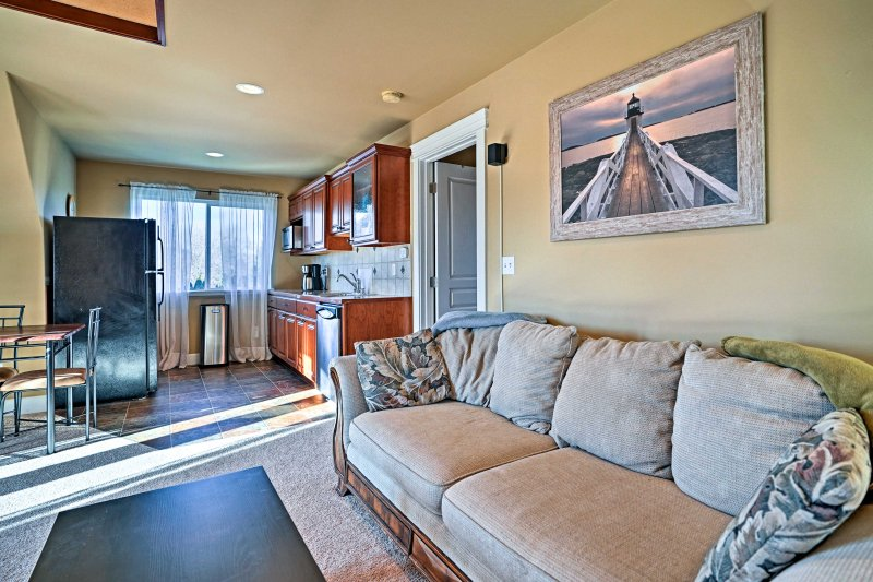 Easily socialize with your travel companions in this open-concept layout.