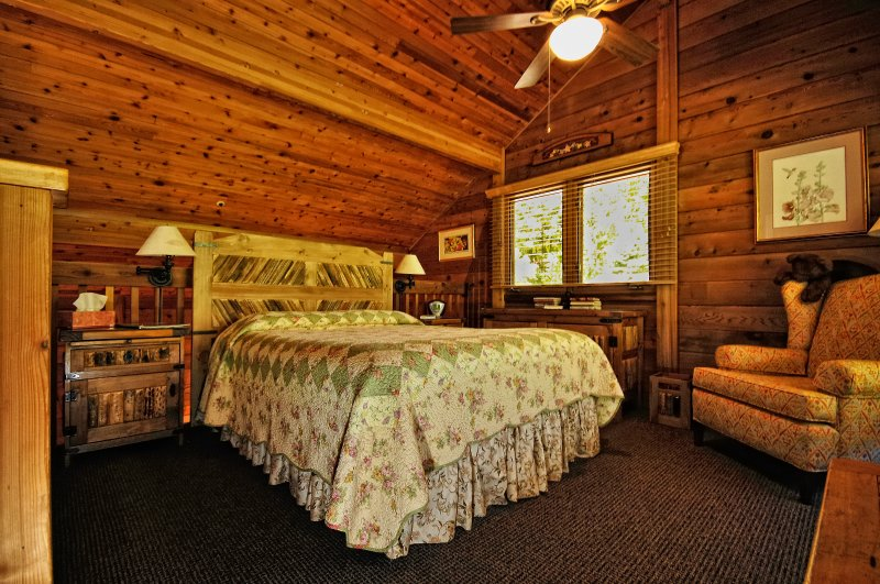 Cozy and comfortable with high loft ceilings and a rustic cottage feel.