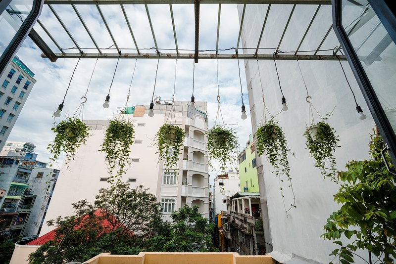 Hanging garden outside the window