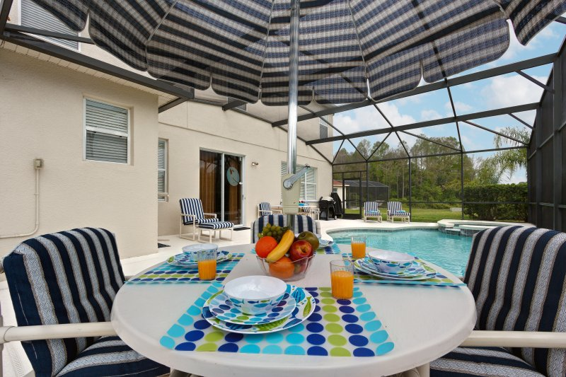 The private pool & spa. The extended deck faces south, perfect for sunseekers