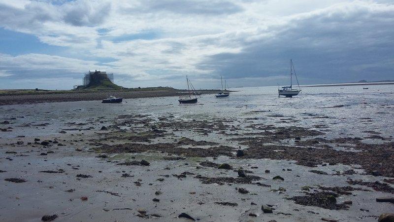 Tidal, Lindisfarne Island looking at the castle