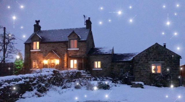 Night falls at Bleak House Cottage.