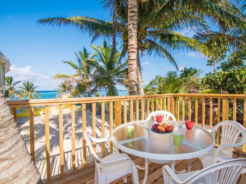Terrace overlooks the ocean