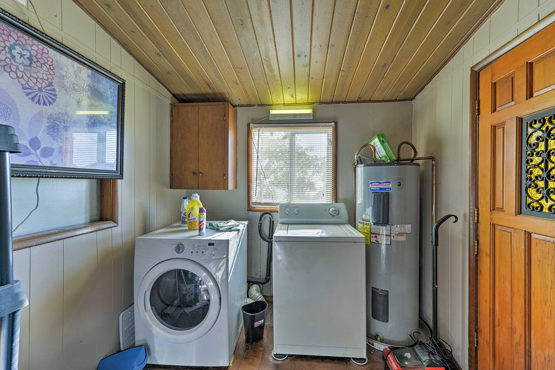 Keep your wardrobe looking fresh in this shared laundry room!