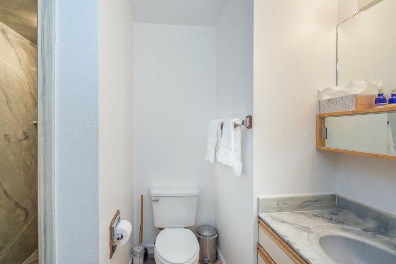The en suite bathroom to the queen bedroom has a shower only