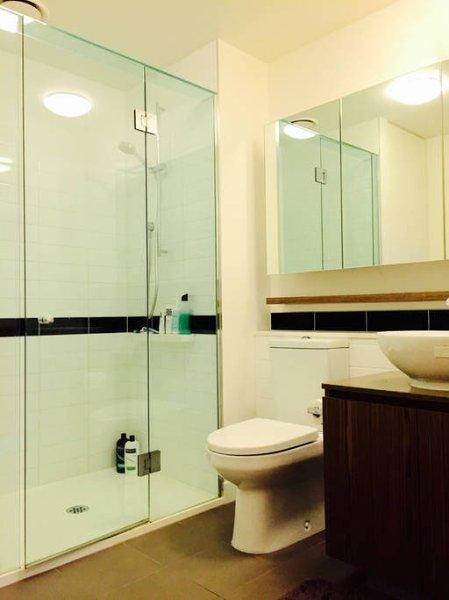 An exceptionally spacious modern bathroom where you'd joyfully hum a tune.