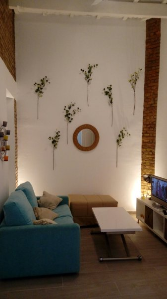 Original apartment in Triana, Seville traditional interior courtyard, next to the building in the same