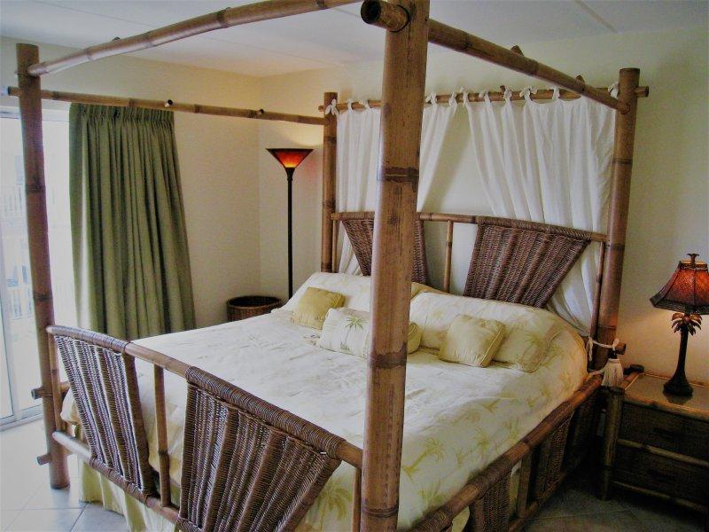 Master: cama king size, TV, acesso à varanda