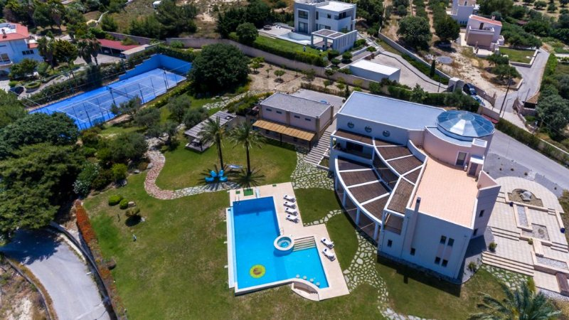 Whole property-from left main building,swimming pool, guest house,BBQ,tennis court.