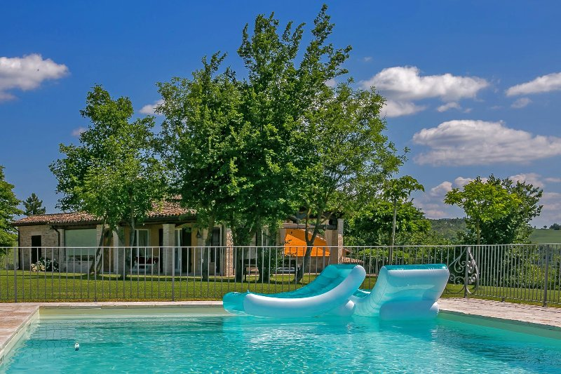 Fenced-in pool, perfect for children