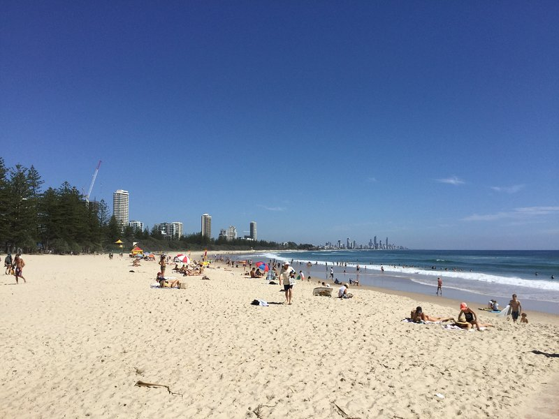 Burleigh beach is a patrolled beach with swimming flags daily plus is great for kids.