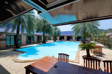 swimming pool and rooms view by day