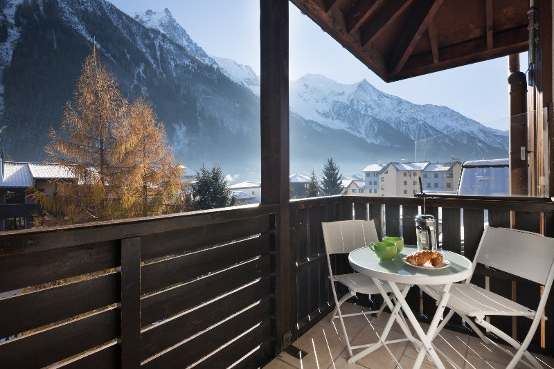 Large balcony with stunning views on the Mont Blanc range