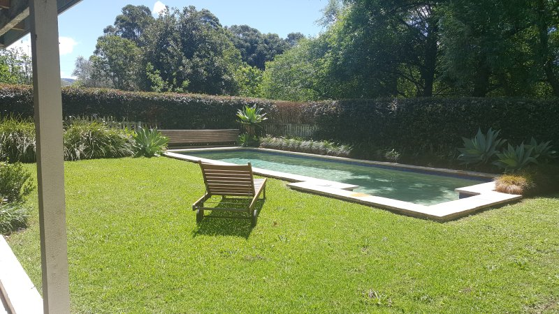 Private solar heated swimming pool. Also, shaded BBQ area, outside kitchen & wood fired oven.