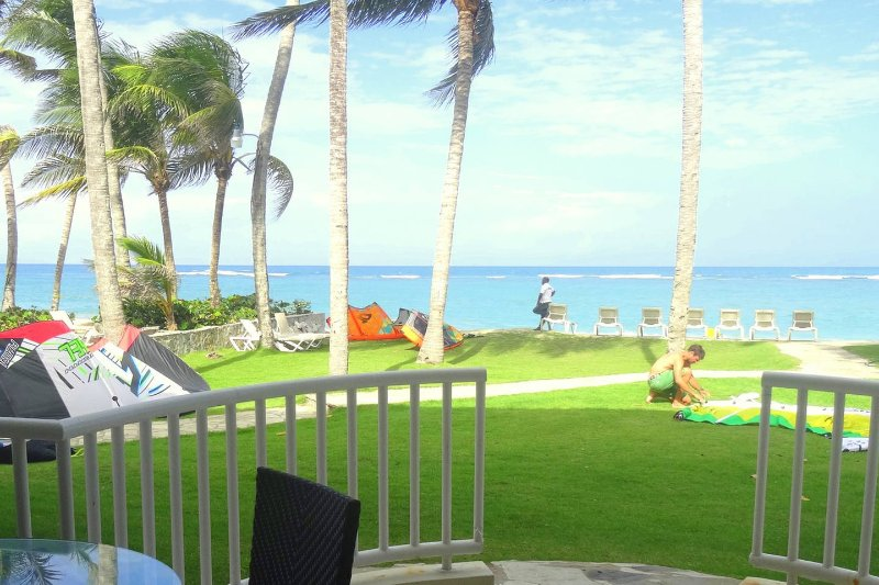 ONLY 30 steps from WorldClass KiteBeach; balcony has direct access to awn and pool...