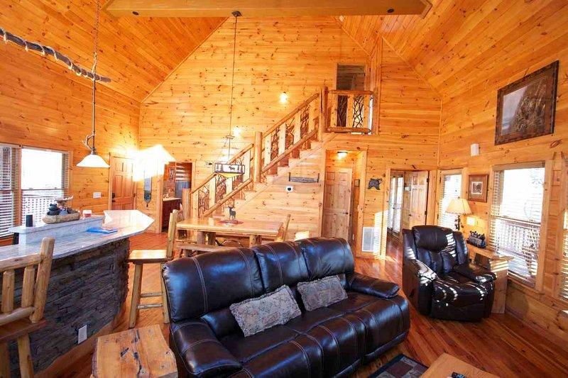 Living w Rustic Stairway