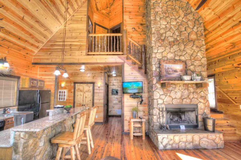 Gorgeous Fireplace and Rock Bar
