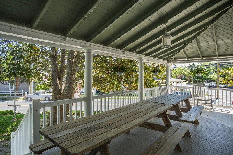 Double Picnic Tables off the Kitchen Area