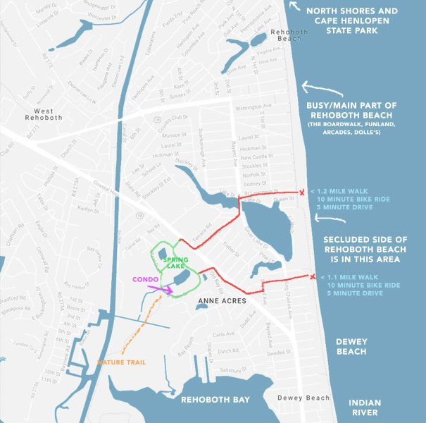 Rehoboth parking pass is provided and the residence is at the most central point among Rehoboth Beach, Dewey Beach, and the Rehoboth Bay.