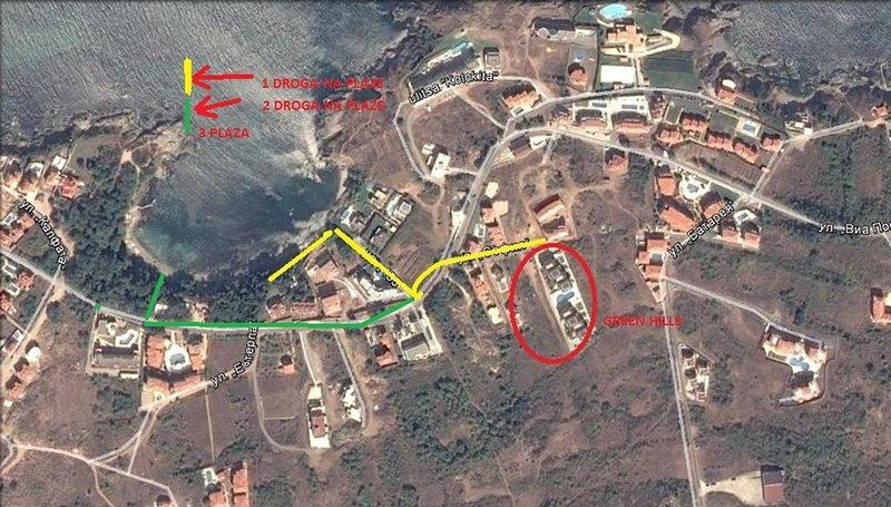 Mapa com indicações aos montes verdes