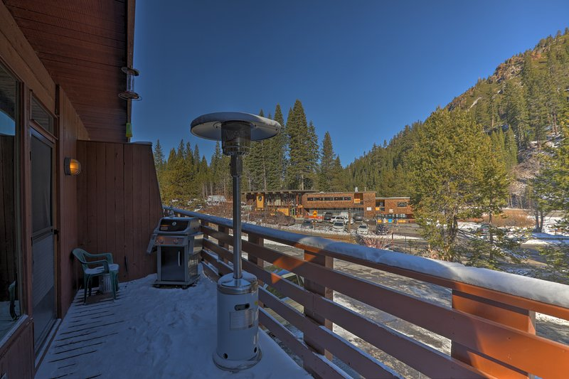 Enjoy forested views from the spacious balcony.