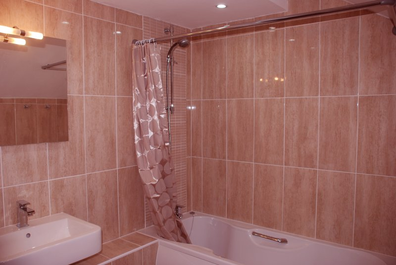 Bathroom with full size bath and shower over.