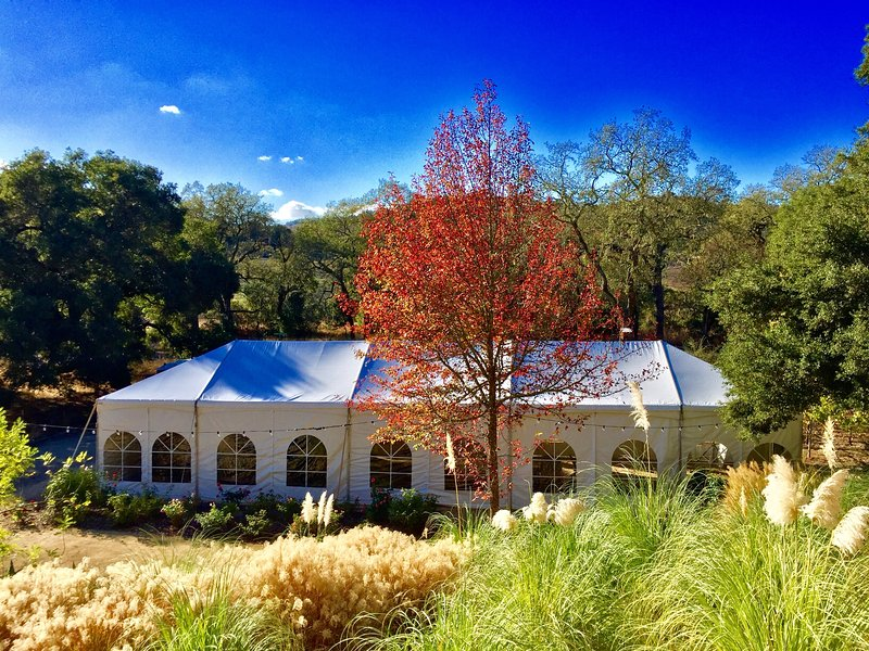 Inquire about special events.  Tent fits perfectly between bocce court, vineyard and rose garden.