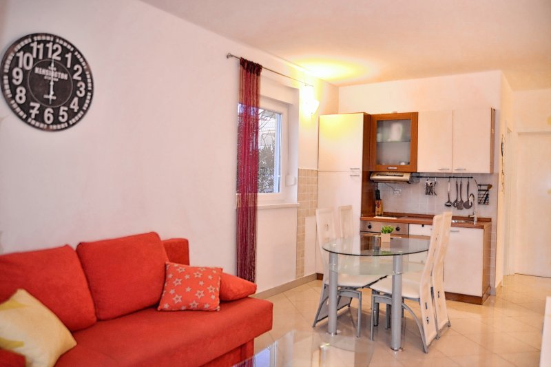 Living room with equiped kitchen, kitchen table for 6 people and sofa which streches in bed for 2