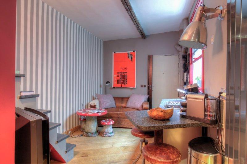 Salon Marble sofa Club, Bang Olufsen TV, Magimix, paint Farrow Ball Cushion Ralph Lauren.