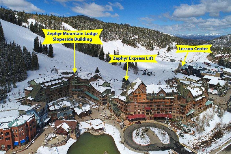 Vista aérea de la aldea de la zona base circundante