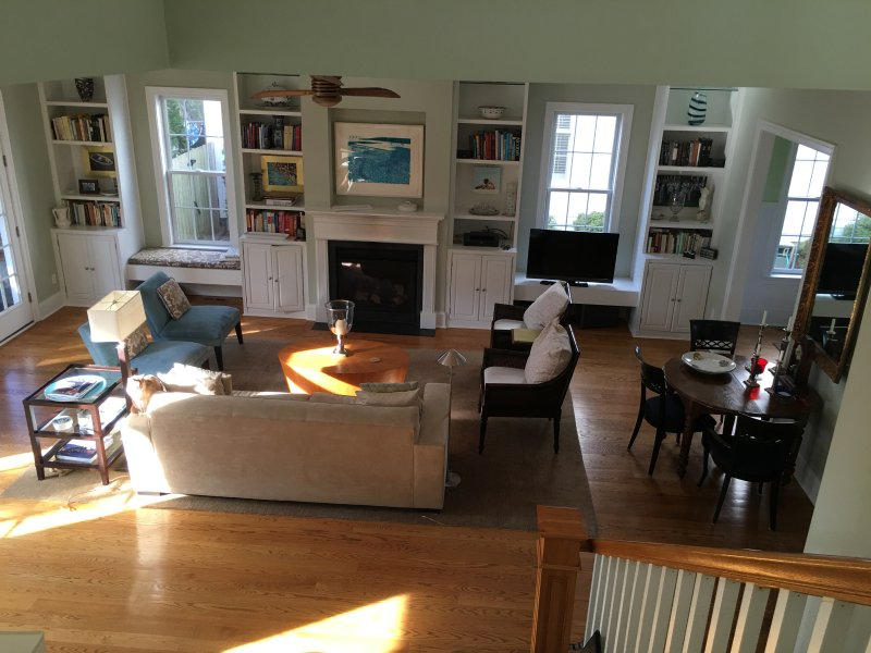 The Great Room with French doors to screen porch and deck