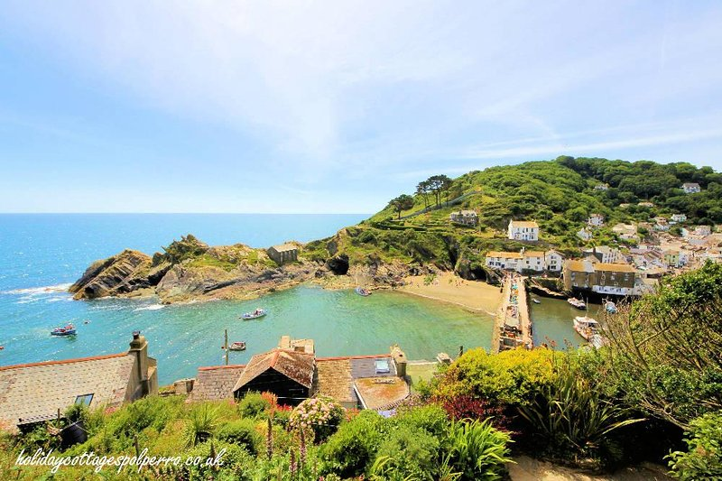 Polperro harbour, beach and clifftops