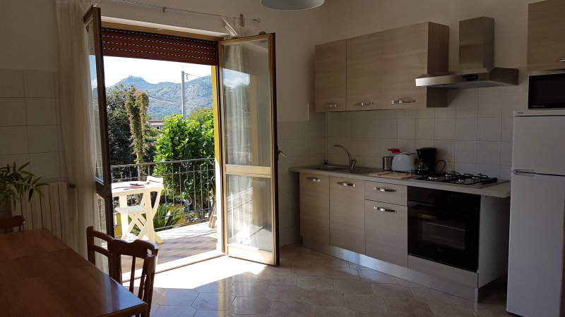 Apartment Amaretto kitchen with a large table and access terrace balcony