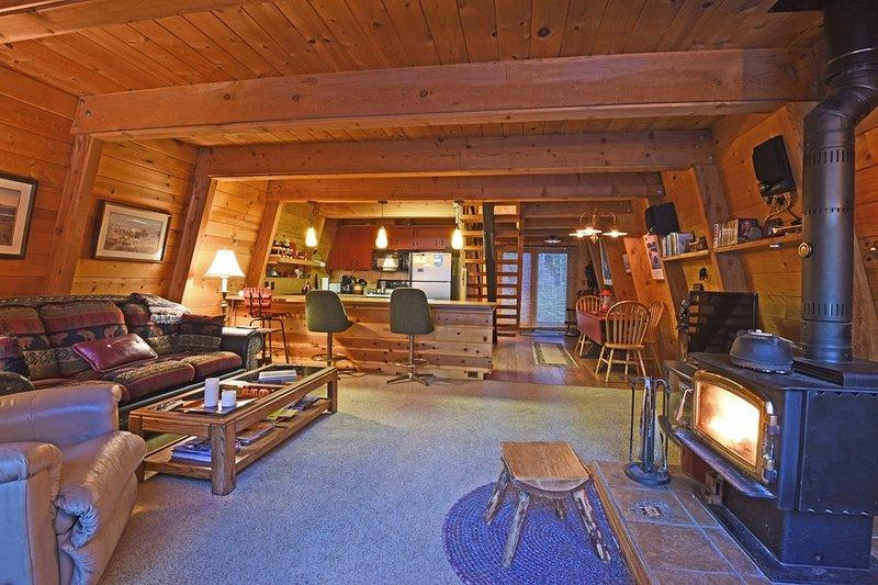 Séjour avec poêle à bois confortable