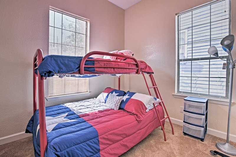 Kids will love sharing the second bedroom with a twin-over-full bunk bed!